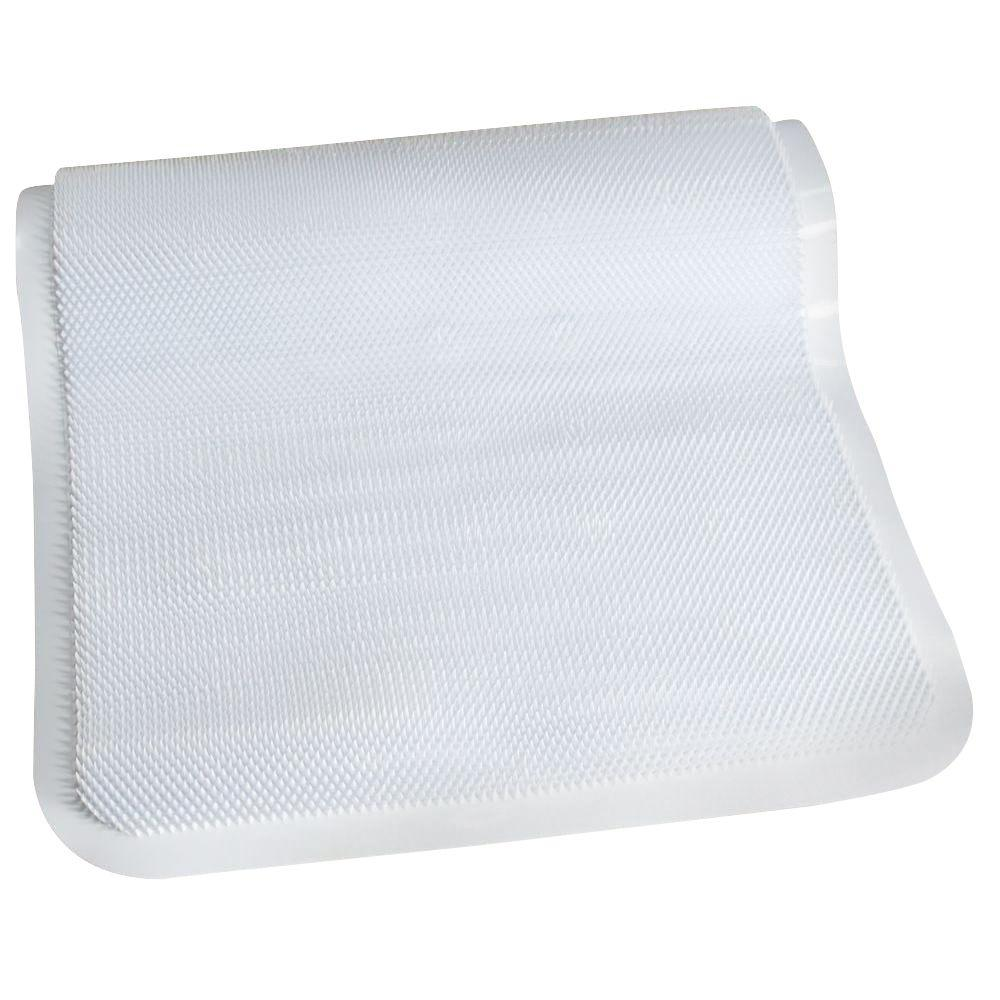 SlipX Solutions 14 in. x 26 in. Soft Step Massaging Bath Mat in White