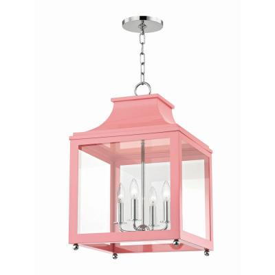 Leigh 4-Light 16 in. W Polished Nickel/Pink Pendant with Clear Glass Panel