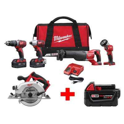 M18 18-Volt Lithium-Ion Cordless Combo Tool Kit (4-Tool) with Free M18 6-1/2 in. Circular Saw and 5.0Ah Battery