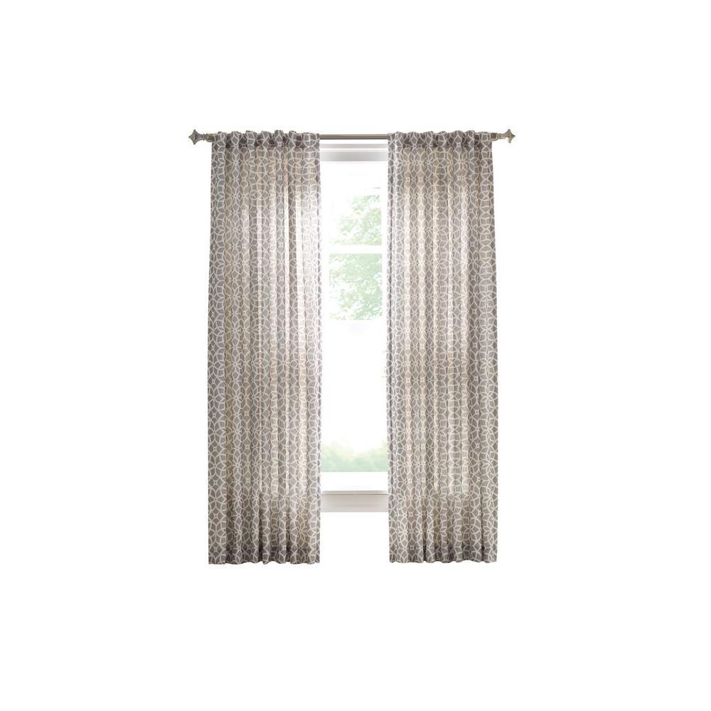 Martha Stewart Living Cement Gray Full Bloom Back Tab Curtain 1624945 The Home Depot