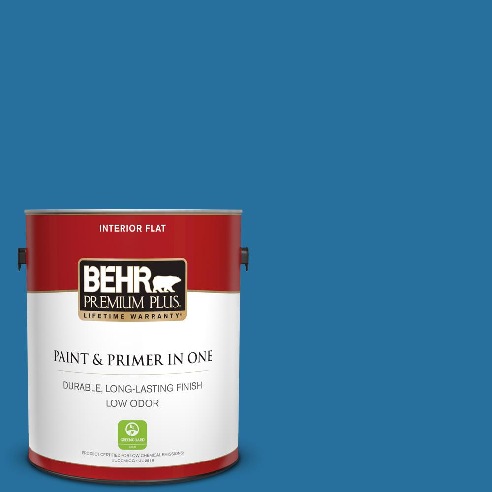 BEHR Premium Plus 1 Gal. #550B-7 Blue Ocean Flat Low Odor