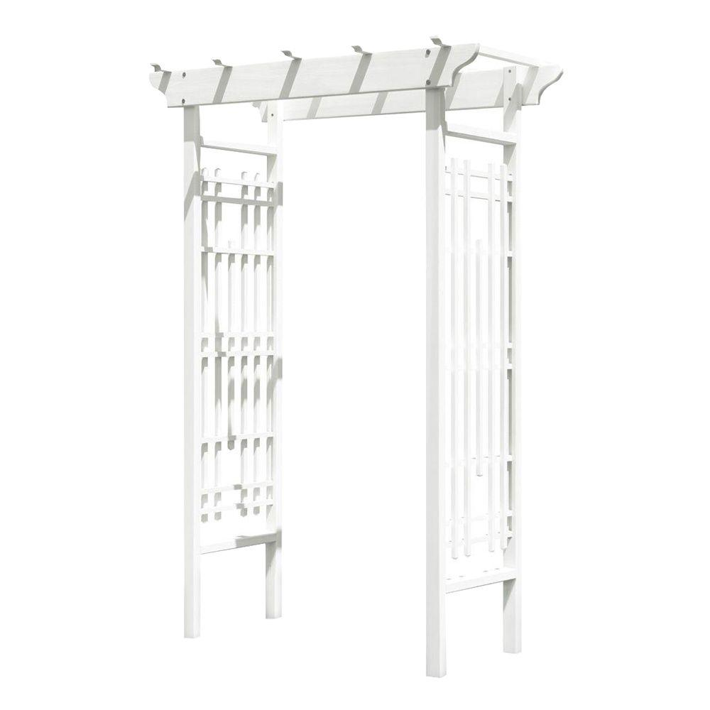 83 in. x 42 in. Outside White Wood Wedding Arbor