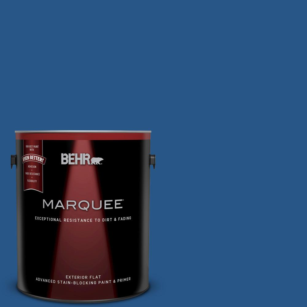 1 gal. #590B-7 Award Blue Flat Exterior Paint and Primer in