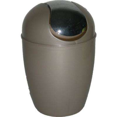 0.5 l/0.3 Gal. Mini Waste Basket for Bath or Kitchen Countertop with Chrome Lid in Taupe