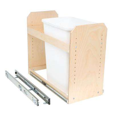 Made-To-Fit 35 qt. Single Bin Slide-Out Trash/Recycle Center with Storage, Full Extension, Poly-Finished Birch wood