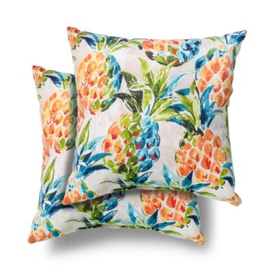 Hampton Bay 18 in. x 18 in. Pineapples Square Outdoor Throw Pillow (2 Pack)
