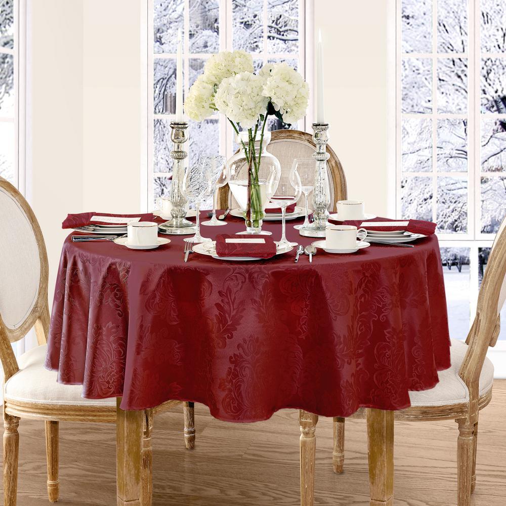 Elrene 70 in. Round Burgundy Elrene Barcelona Damask Fabric Tablecloth