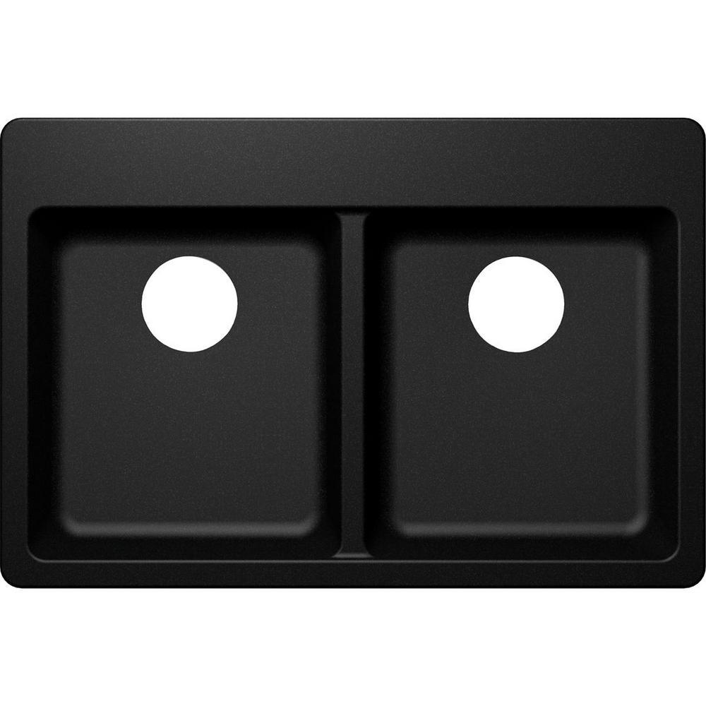 Elkay by Schock Drop-In/Undermount Quartz Composite 33 in. 50/50 Double Bowl Kitchen Sink in Black
