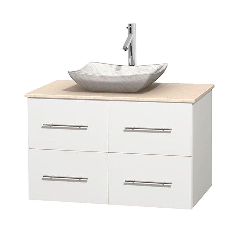 Wyndham Collection Centra 36 in. Vanity in White with Marble Vanity Top in Ivory and Carrara Sink