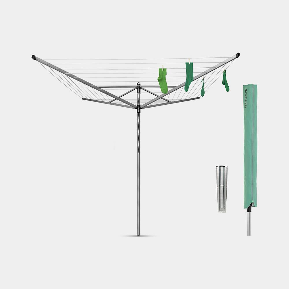 Brabantia 197 ft. (60 m) Rotary Clothesline Lift-O-Matic with Ground Spike and Protective Cover