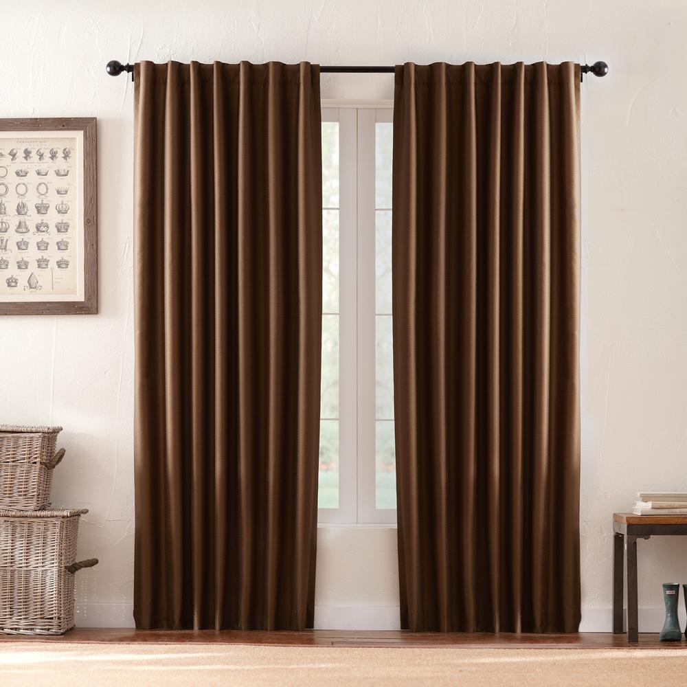 Textured Thermal Room Darkening Window Panel in Deep Brown - 42 in. W x 108 in. L