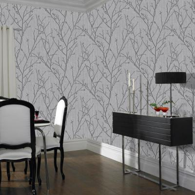 Evita Water Silk Sprig Charcoal Wallpaper