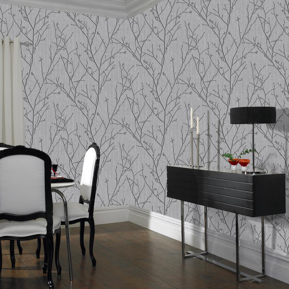 Evita Water Silk Sprig Charcoal Wallpaper Sample