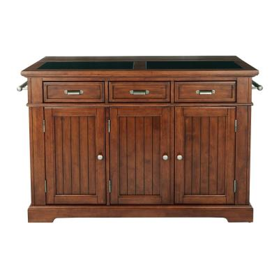 Farmhouse Basics Vintage Oak Kitchen Island with Granite Top