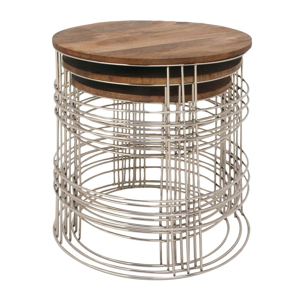 Set Of 3 Mango Wood And Metal Round Accent Tables In Natural Finish (3