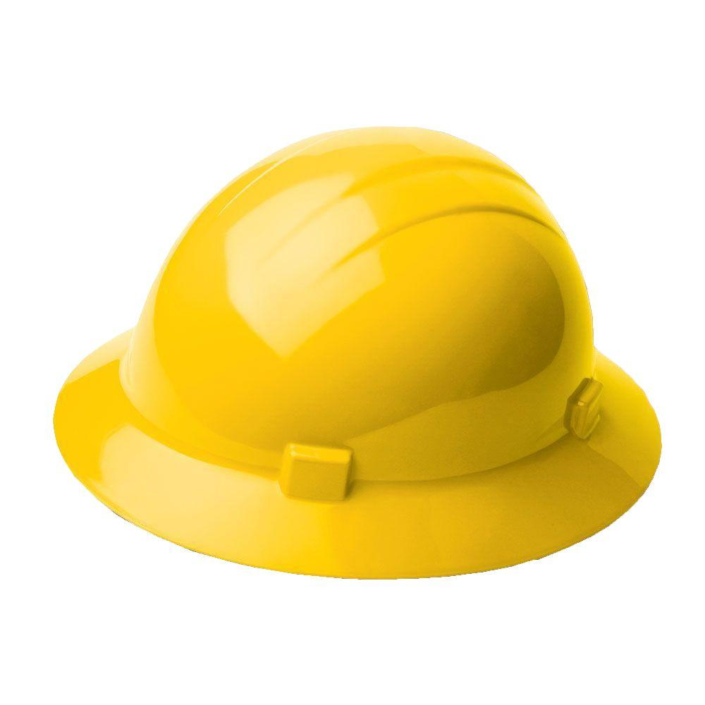 Americana 4 Point Nylon Suspension Slide-Lock Full Brim Hard Hat in Yellow
