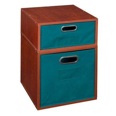 Cubo 13 in. x 19.5 in. Cherry 1 Half-Cube and 1 Full-Cube Organizer with Teal Foldable Storage Cubes