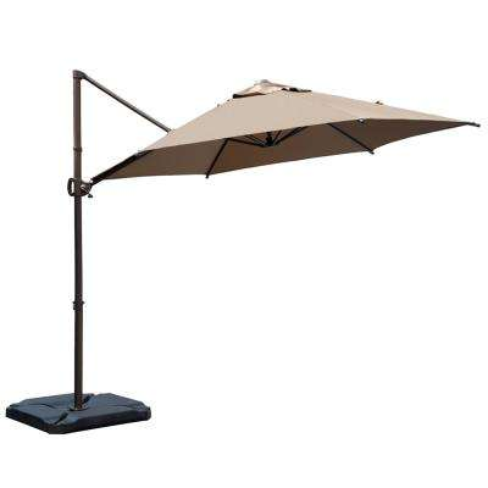 9 ft. Offset Cantilever Adjustable Vertical Tilt Patio Umbrella in Cocoa
