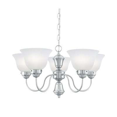 Whitmore 5-Light Brushed Nickel Chandelier With Etched Glass Shades