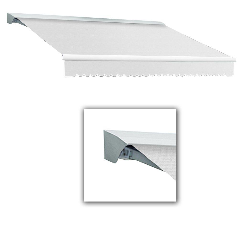 AWNTECH 12 ft. LX-Destin with Hood Right Motor with Remote Retractable Acrylic Awning (120 in. Projection) in Off White
