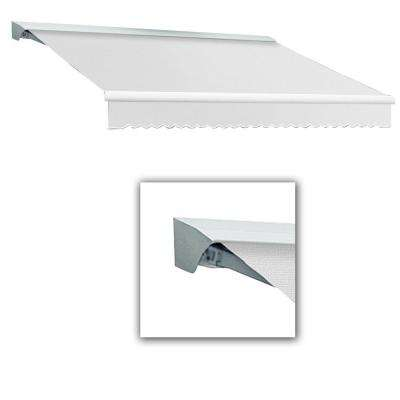 10 ft. DESTIN-LX with Hood Left Motor with Remote Retractable Awning (96 in. Projection) in Off White