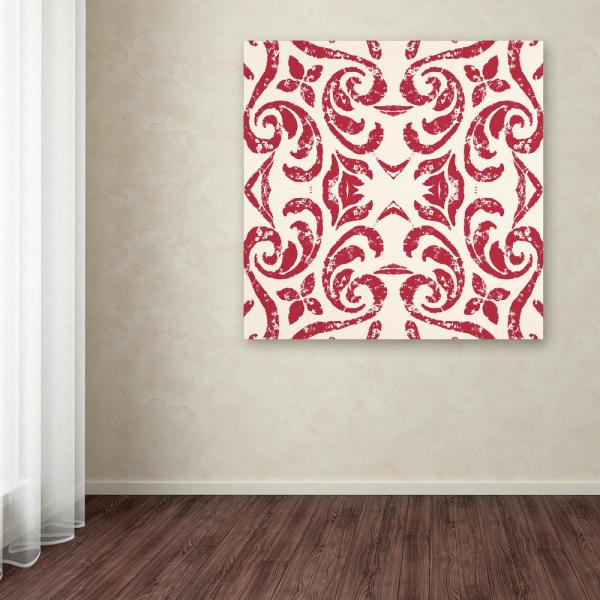 Trademark Fine Art 35 in. x 35 in. ''Damask Red'' by