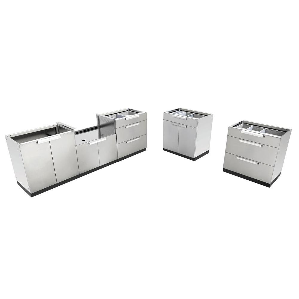 Stainless Steel Classic 5-Piece 184x36x24 in. Outdoor Kitchen Cabinet Set