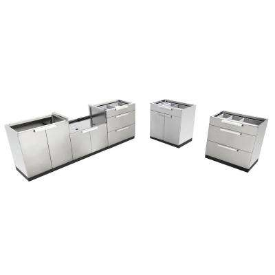 Stainless Steel Classic 5-Piece 184x36x24 in. Outdoor Kitchen Cabinet Set without Counter Tops