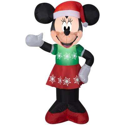 3 51 Ft Pre Lit Inflatable Minnie Mouse In Snowflake Dress Airblown