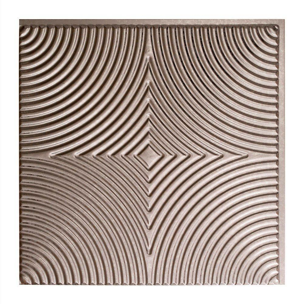 Fasade Echo - 2 ft. x 2 ft. Glue-up Ceiling Tile in Galvanized Steel