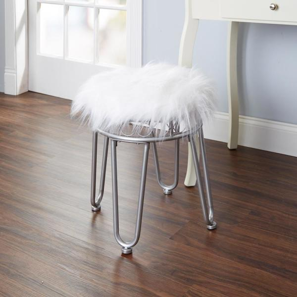 Silverwood Furniture Reimagined Hannah White and Silver Faux Fur Hairpin Vanity