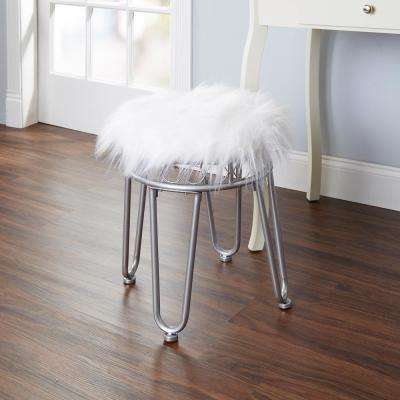 Hannah White and Silver Faux Fur Hairpin Vanity Bench