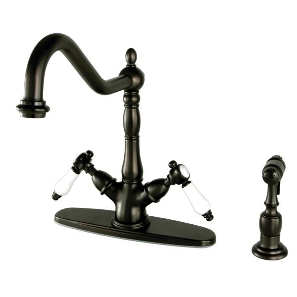 Victorian French Porcelain 2-Handle Standard Kitchen Faucet with Side Sprayer in Oil Rubbed Bronze