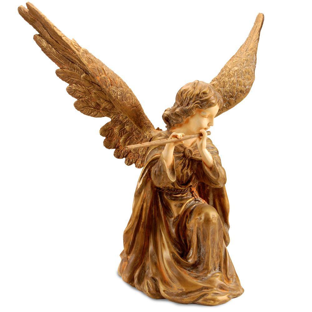 24 in. Polystone Gold Angel