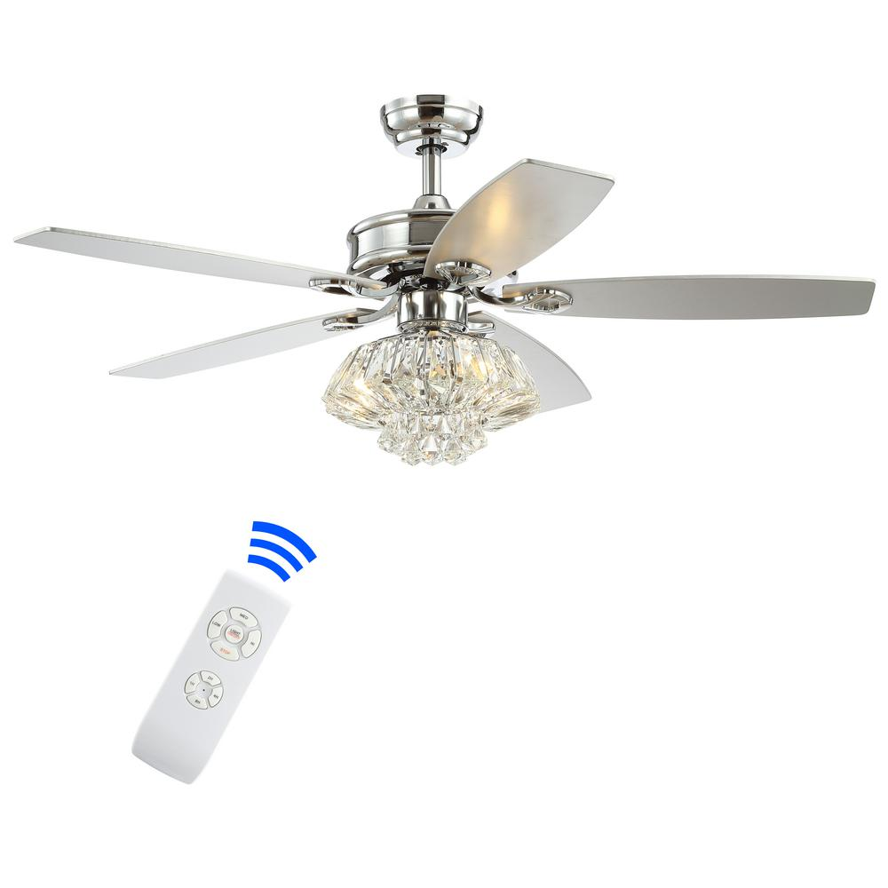 JONATHAN Y Kate 48 in. 3-Light Chrome Glam Crystal Drum LED Ceiling Fan with Light and Remote