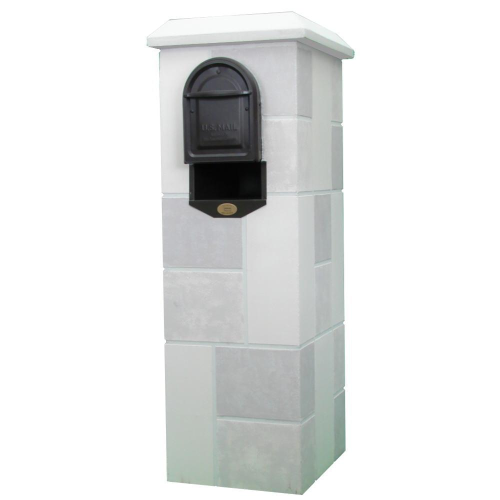 Castle Stone Light and Medium Gray Post Mount Mail Column