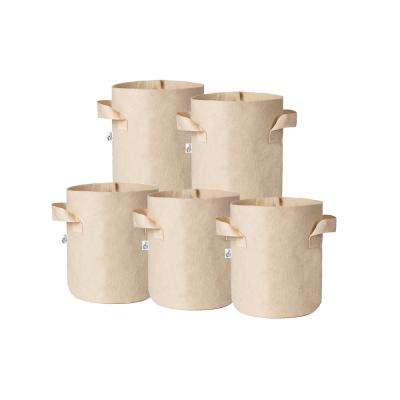 10 in. x 10 in. 3 Gal. Breathable Fabric Pot Bags with Handles Tan Felt Grow Pot (5-Pack)