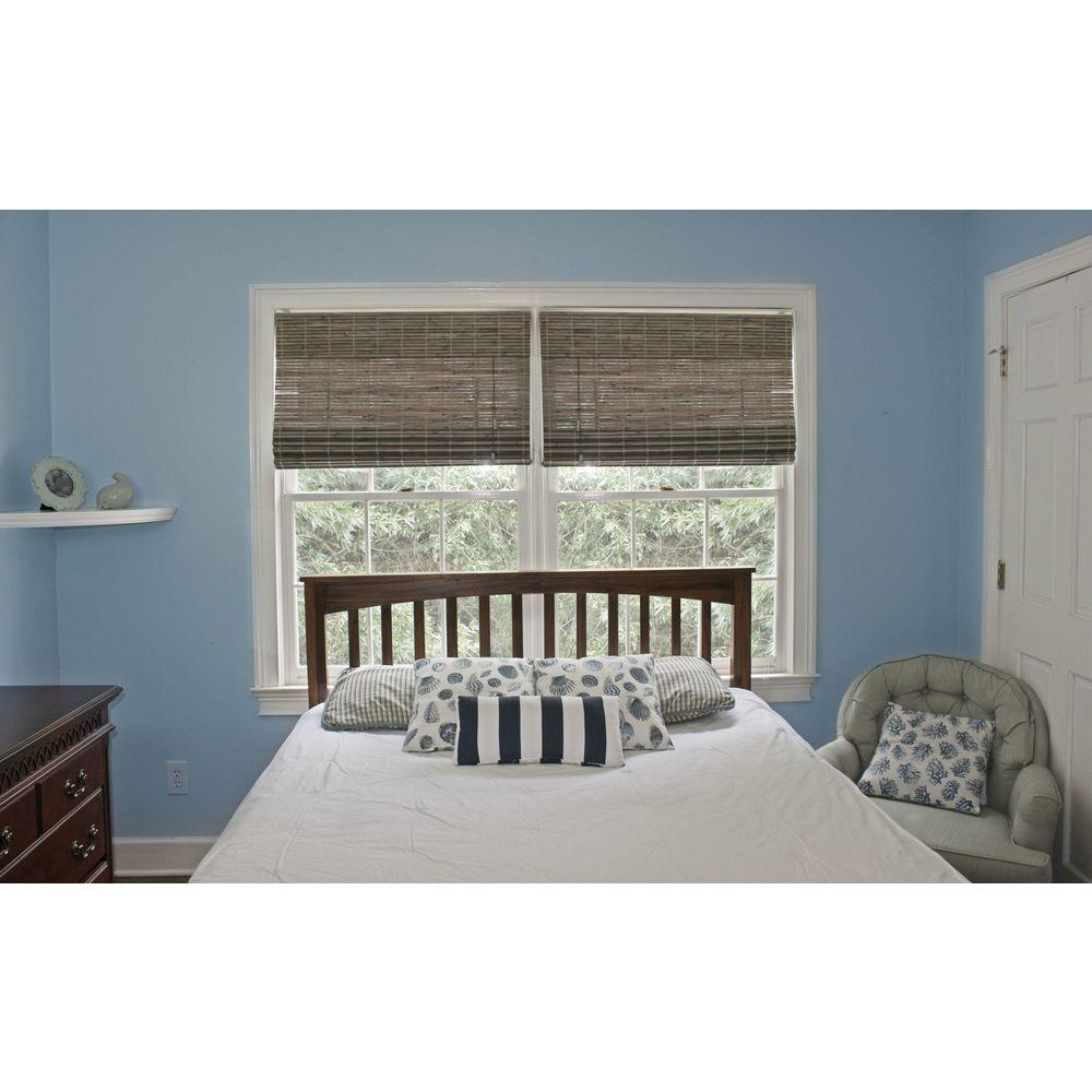 Driftwood Beveled Reed Weave Bamboo Roman Shade - 35 in. W