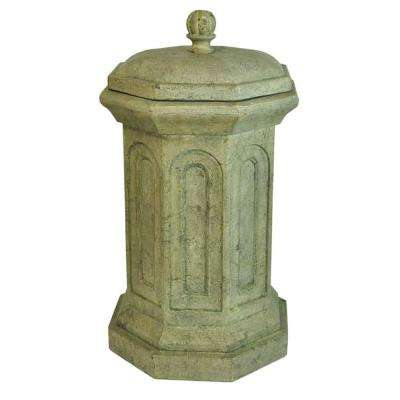 16 in. Octagonal Granite Cast Stone Trash Bin