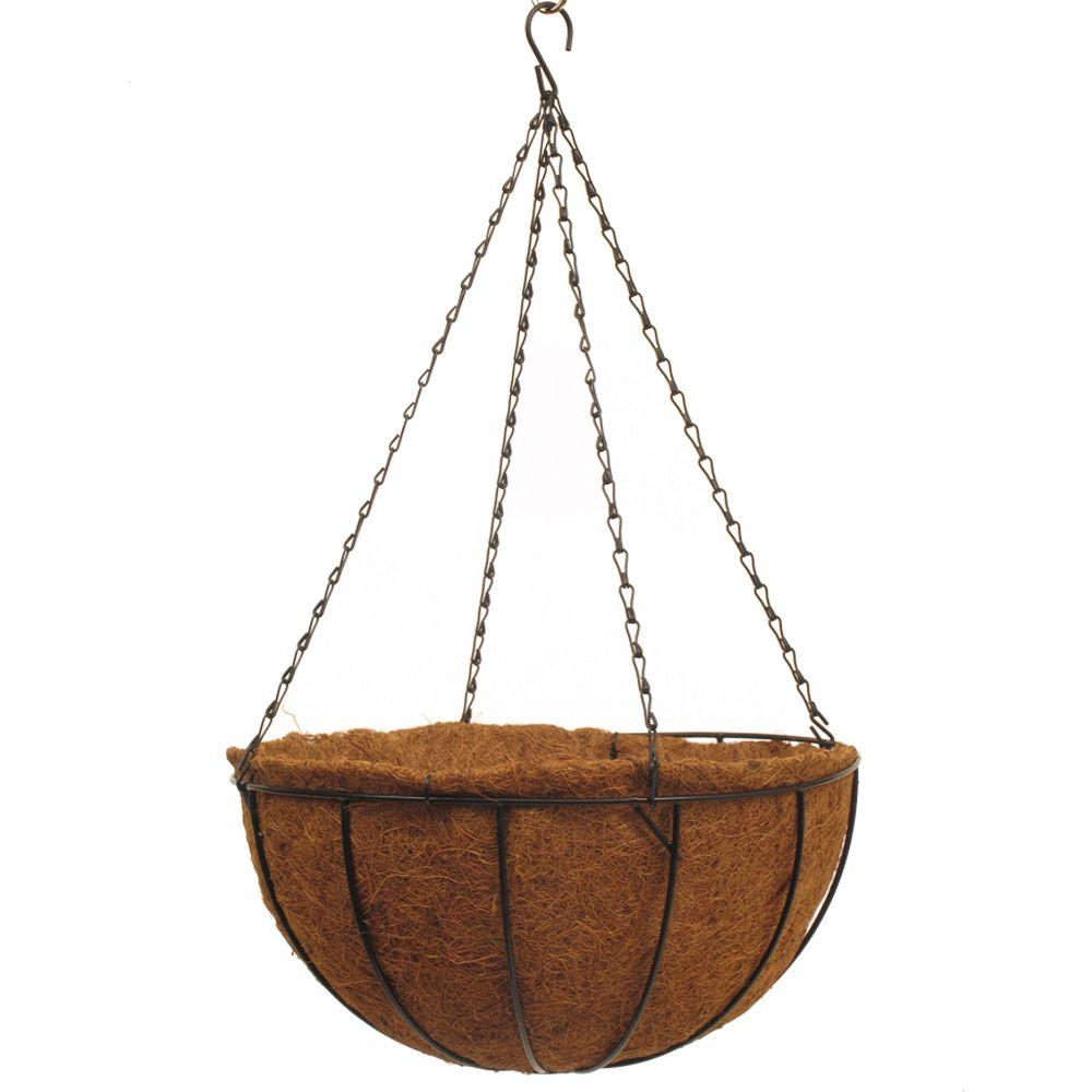 Traditional 16 in. Dia Black Metal Hanging Basket with AquaSav Coco