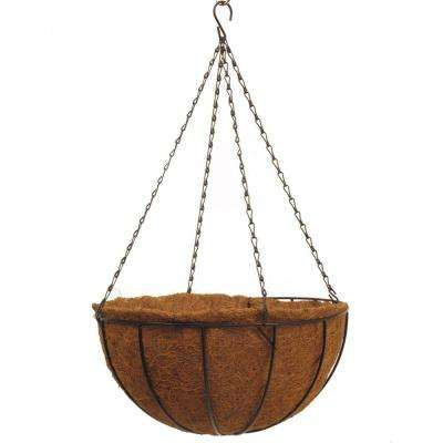 Traditional 16 in. Dia Black Metal Hanging Basket with AquaSav Coco Liner