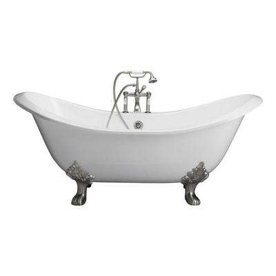 5.9 ft. Cast Iron Lion Paw Feet Double Slipper Tub in White with Polished Chrome Accessories