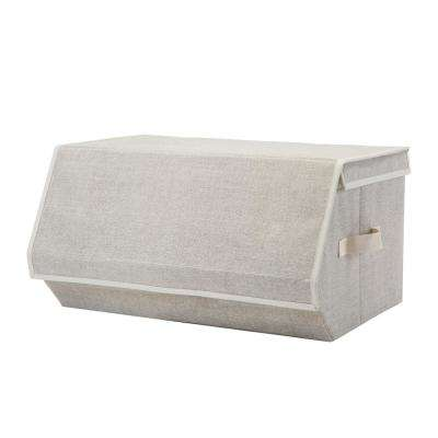 19 in. x 20 in. x 10 in. Collapsible Medium Faux Jute Storage Chest