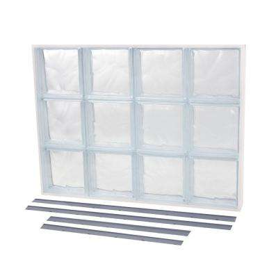 19.875 in. x 13.875 in. NailUp2 Wave Pattern Solid Glass Block Window