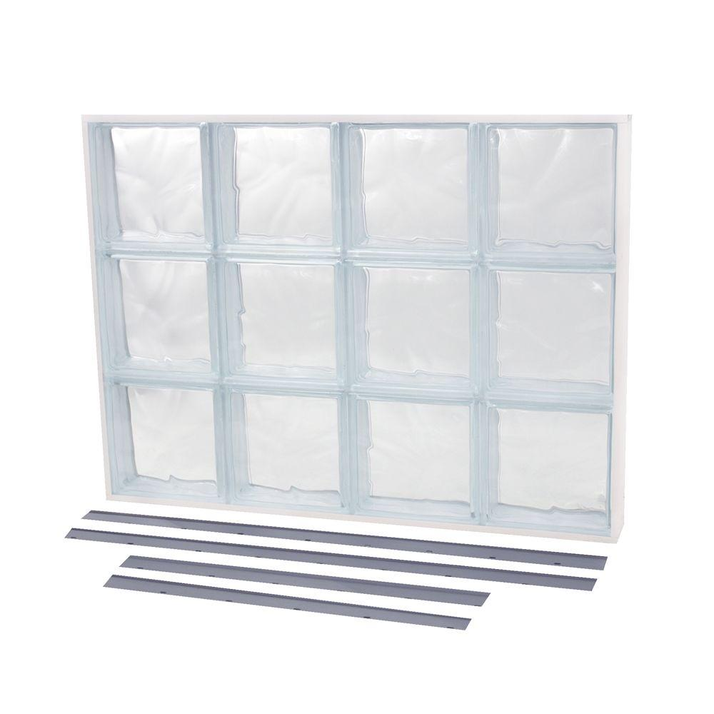 TAFCO WINDOWS 39.375 in. x 13.875 in. NailUp2 Wave Pattern Solid Glass Block Window