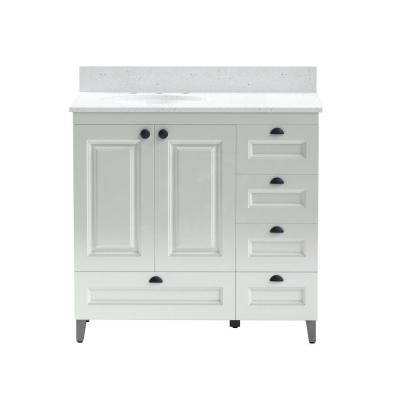 36 in. Metal Bathroom Vanity in White with Iced White Engineered Marble Vanity Top with White Sink