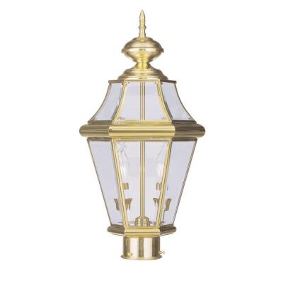 Providence 2-Light 21 in. Outdoor Polished Brass Finish Clear Beveled Glass Post Head