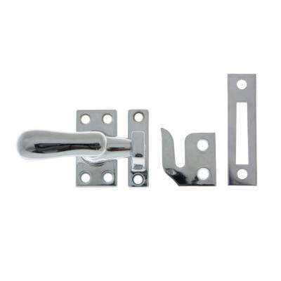Large Solid Brass Casement Fastener in Polished Chrome