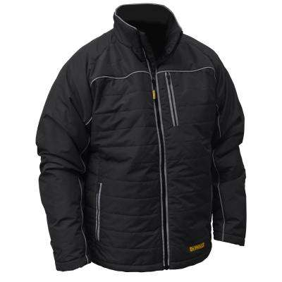 Mens Large Black Quilted Polyfil Heated Jacket