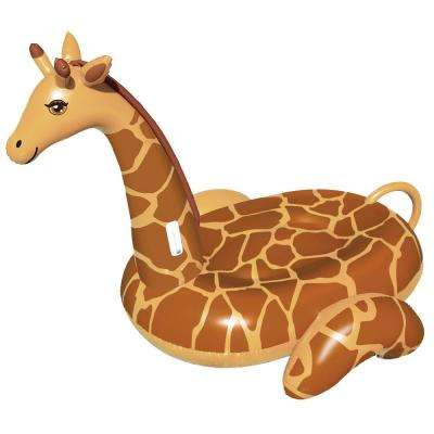 96 in. x 65.5 in. Tan/Brown Giant Ride-On Giraffe Pool Float